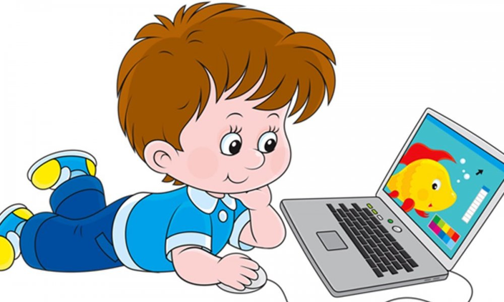 Дети за компьютером рисованные картинки